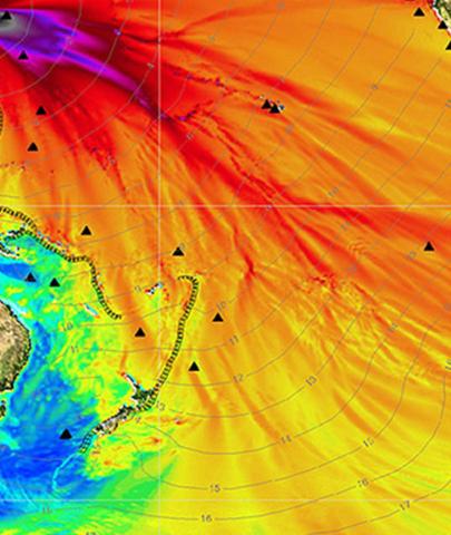 Eine Visualisierung der radioaktiven Kontamination der Meere nach dem 11.3.2011